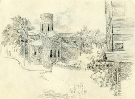 Pencil drawing. Cityscape with the old church