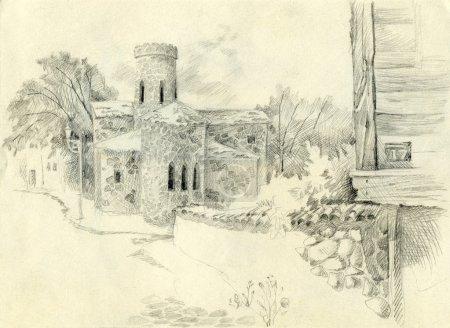 Photo pour Dessin au crayon. Un croquis du paysage urbain avec la vieille église en pierre au carrefour - image libre de droit