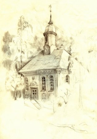 Architectural pencil sketch. The old church in the park