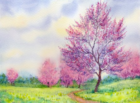 Watercolor spring landscape. Flowering tree in a field