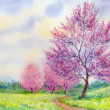 Watercolor spring landscape. Flowering tree in a field beside the path