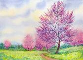 Watercolor spring landscape. Flowering tree in a field