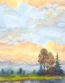 Akvarel krajiny pozadí. večerní nebe nad jezerem