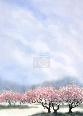 Watercolor landscape background. Flowering trees near the river