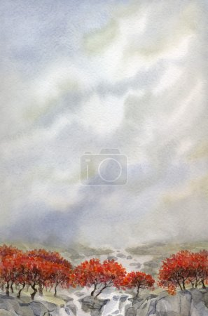 Watercolor landscape background. By the autumn the...