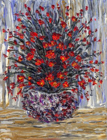 Still life oil. Bouquet of bright red flowers in a round vase