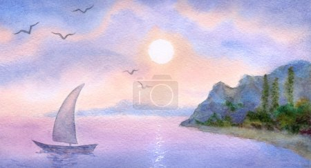 Watercolor landscape. Sailboat on the sea at sunset