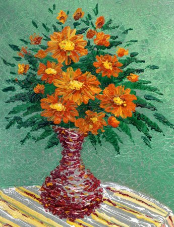 Painting oil. Bouquet of red flowers in a vase