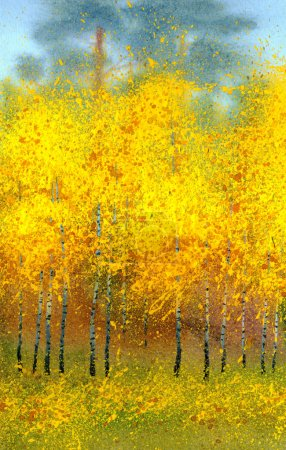 Watercolor landscape. Autumn birches in the forest