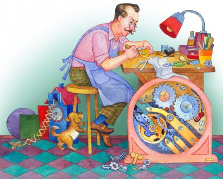 Watercolor illustration. Watchmaker at his workshop