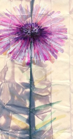 Watercolor painting. Abstract pink flower