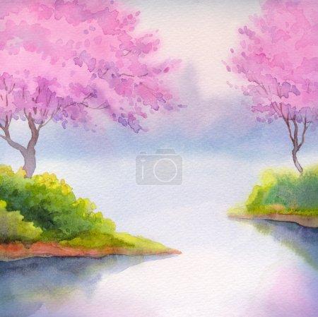 Photo pour Paysage aquarelle. Floraison d'arbres fruitiers au-dessus du lac calme dans une douce matinée de printemps - image libre de droit