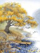 Aquarell Landschaft. einen alten Baum in der Nähe des Teiches