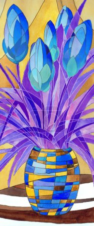 Abstract blue flowers in a motley vase