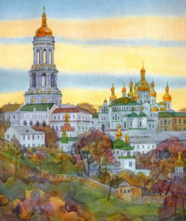 Watercolor cityscape. Monastery on steep hill at autumn evening