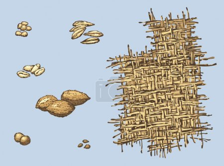Series of vector illustrations of archaeological finds. Remains