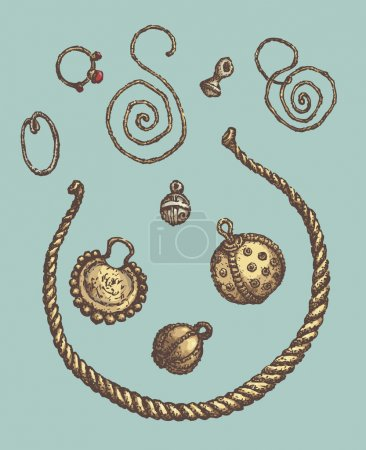 Series of vector illustrations of archaeological finds. Ancient