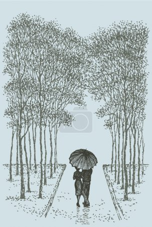 Vector landscape. Couple with umbrella walking down the alley