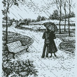 Vector landscape. Young couple with umbrella walki...