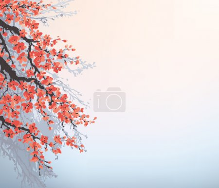 Illustration for Vector background in Japanese style. Blossoming cherry branches of an old tree against the morning sky - Royalty Free Image