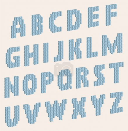Vector alphabet letters which consist of volume blocks