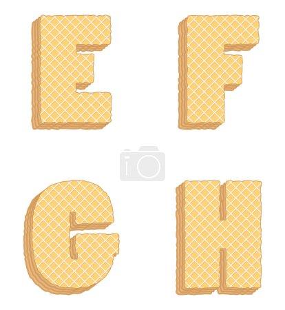 Illustration pour Lettres provenant d'une collection vectorielle de lettres comestibles, consistant en couches empilées de gaufrettes avec crème à l'intérieur - image libre de droit