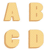 Vector collection of edible letters consisting of waffles