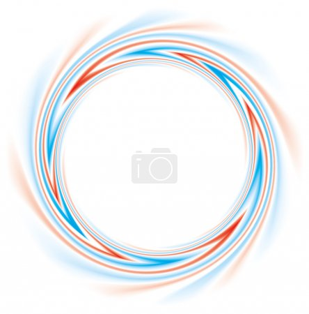 Illustration for Vector background. Abstract round frame of helically twisted red and blue stripes - Royalty Free Image