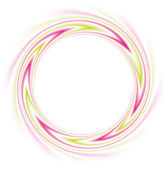 Vector round frame of swirling lines of waving bright pink and green color