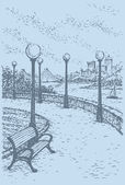 Vector landscape of city park Bench in the alley with lanterns above the steep bank of the river with a view of the bridge and high-rise buildings on the other side