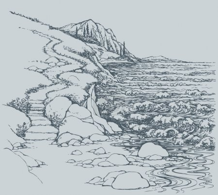 Vector seascape. Steps to rocky shore