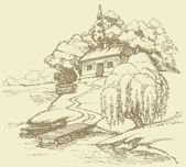 Vector landscape Old hut on a hill above the river