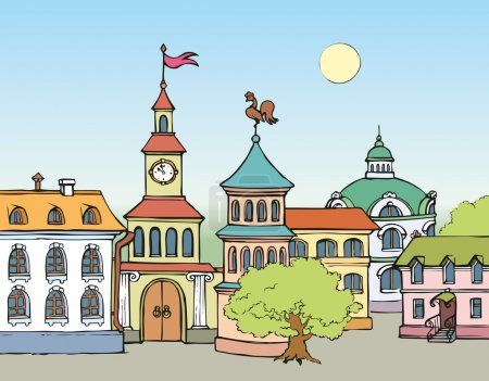 Vector cityscape. Panorama fabulous historic town square