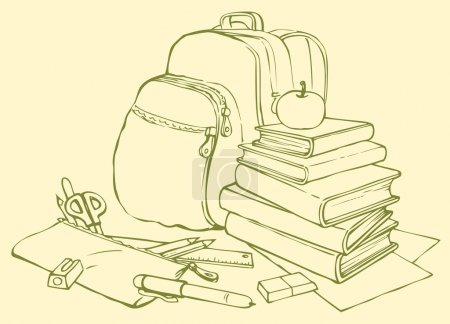 Vector still life school accessories. Book, backpack and pencil case