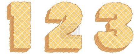 Illustration pour Ensemble vectoriel de symboles stylisés composé de couches empilées de plaquettes avec crème à l'intérieur. Numéros 1, 2, 3 isolés sur fond blanc - image libre de droit
