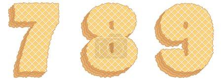 Illustration pour Ensemble vectoriel de symboles stylisés composé de couches empilées de plaquettes avec crème à l'intérieur. Numéros 7, 8, 9 isolés sur fond blanc - image libre de droit