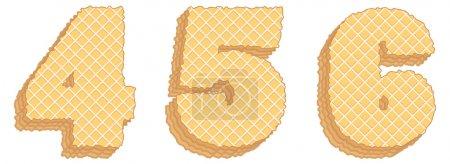 Illustration pour Ensemble vectoriel de symboles stylisés composé de couches empilées de plaquettes avec crème à l'intérieur. Numéros 4, 5, 6 isolés sur fond blanc - image libre de droit
