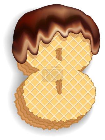 Illustration pour Ensemble vectoriel de chiffres stylisés composé de couches empilées de gaufrettes avec crème au chocolat coulant du haut. Numéro 8 - image libre de droit