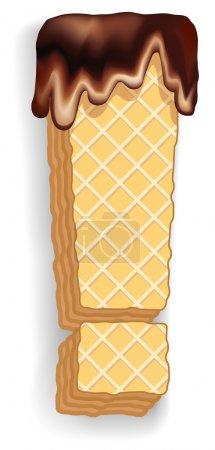 Illustration pour Ensemble vectoriel de symboles stylisés composé de couches empilées de gaufrettes avec crème au chocolat coulant du haut. Point d'exclamation - image libre de droit