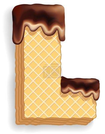 Illustration pour Ensemble vectoriel de caractères stylisés composé de couches empilées de gaufrettes avec crème au chocolat coulant du haut. Lettre L - image libre de droit
