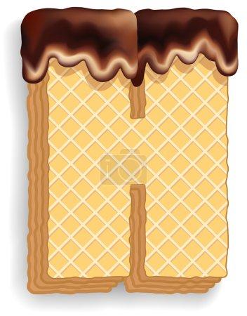 Illustration pour Ensemble vectoriel de caractères stylisés composé de couches empilées de gaufrettes avec crème au chocolat coulant du haut. Lettre H - image libre de droit