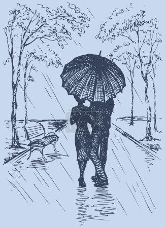 Vector romantic scene. Couple with umbrella walking in the park