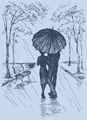 Vector romantic scene Couple with umbrella walking in the park
