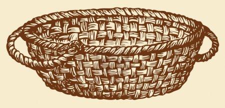 Vector monochrome drawing. Empty wicker basket