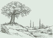 Vector landscape Oak tree on the hill
