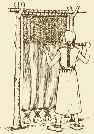 Vector illustration. Woman weaves in ancient loom