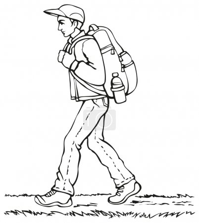 Illustration for Vector monochrome line drawing. Traveler in a cap, jacket and jeans with a heavy backpack and a bottle of water goes down the path - Royalty Free Image