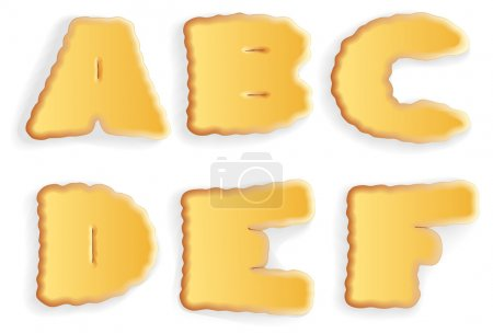 Vector set of appetizing letters of cracker biscuits