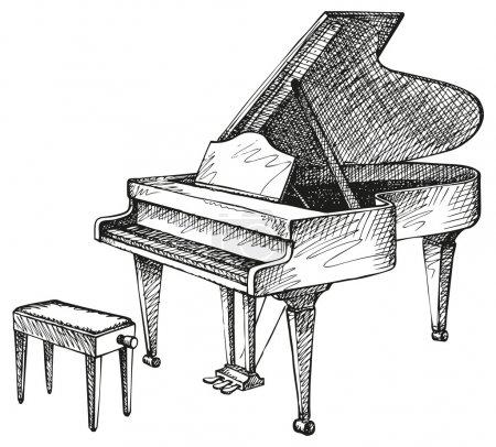 Illustration pour Vecteur de dessin à main levée d'un piano à queue ouvert et selles pour un musicien - image libre de droit