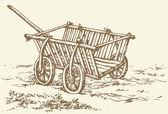Vektorové kreslení. archaické dřevěné prázdný vozík